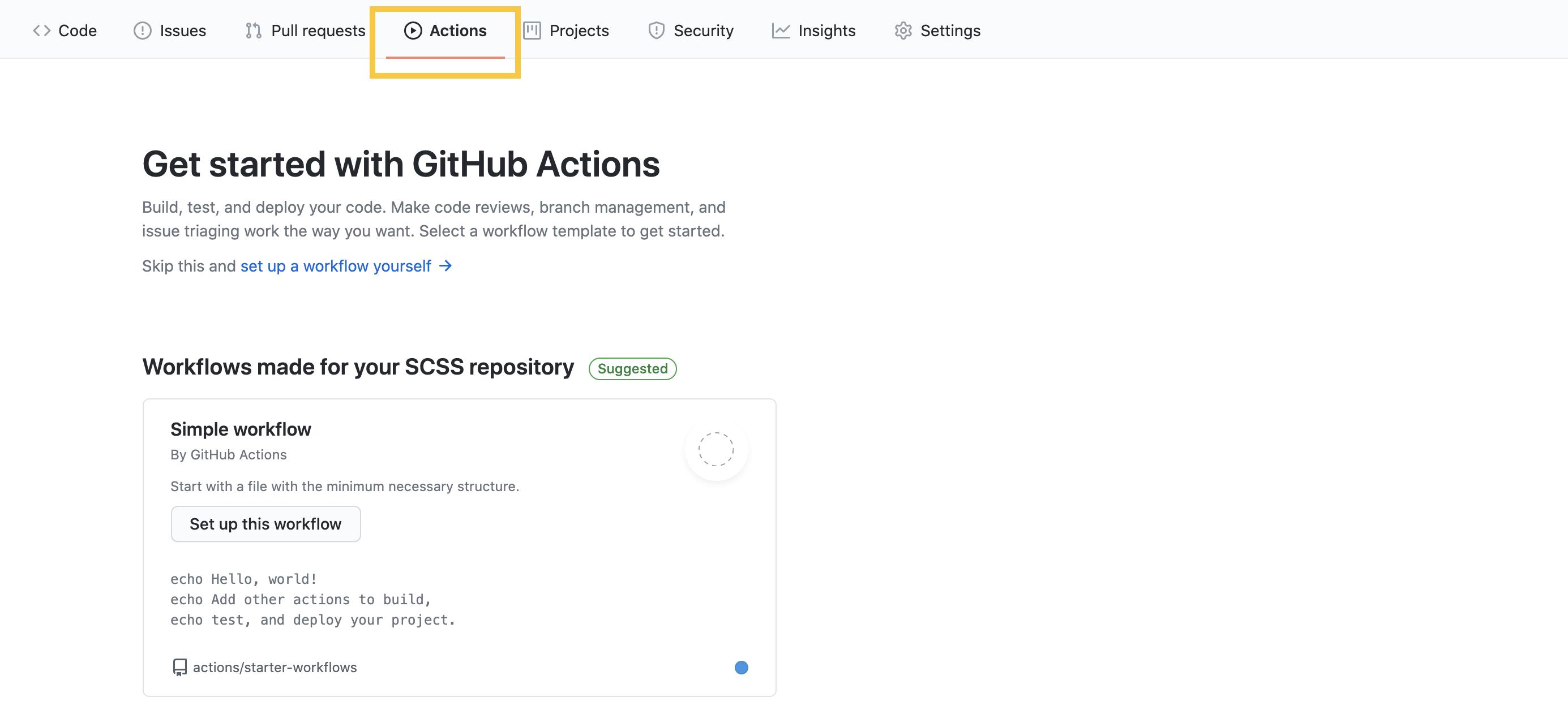 Actions の初期画面